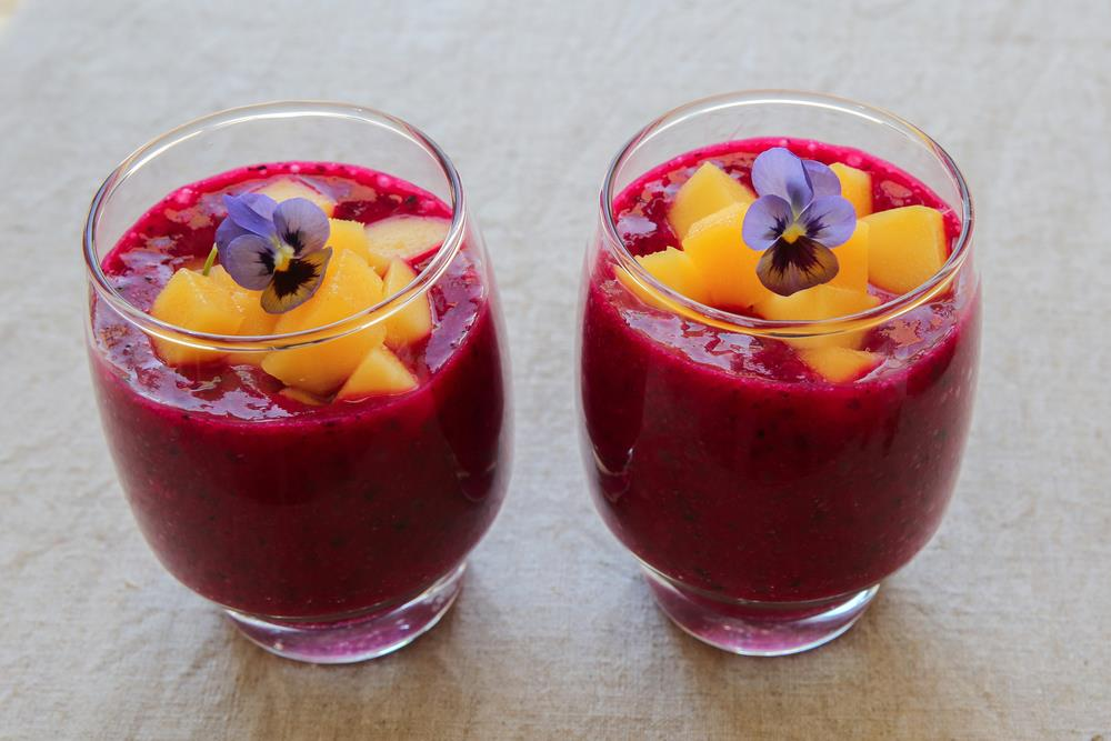 Edible flower smoothies