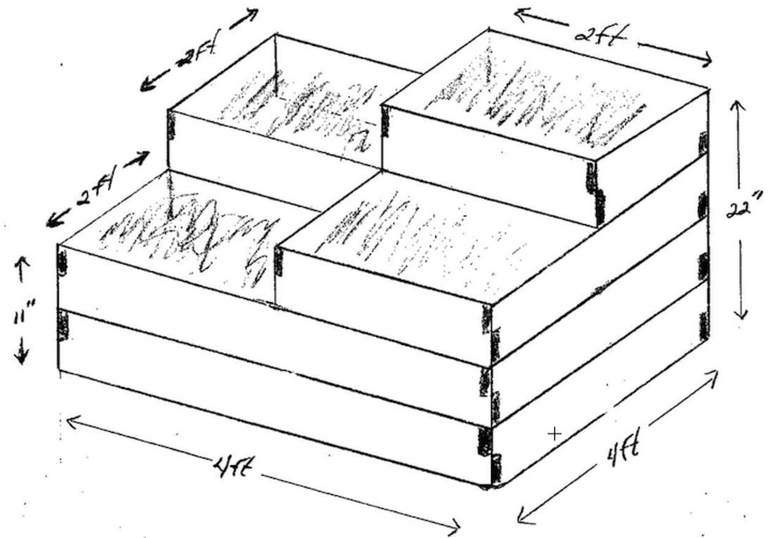 DIY multi-level raised garden bed made of wood