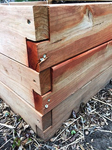 Notched Corner with screws in Raised Bed