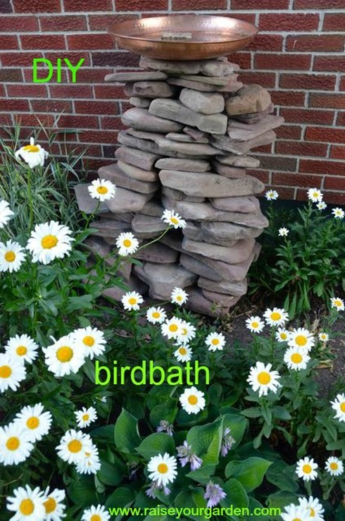 DIY birdbath made of lake rock