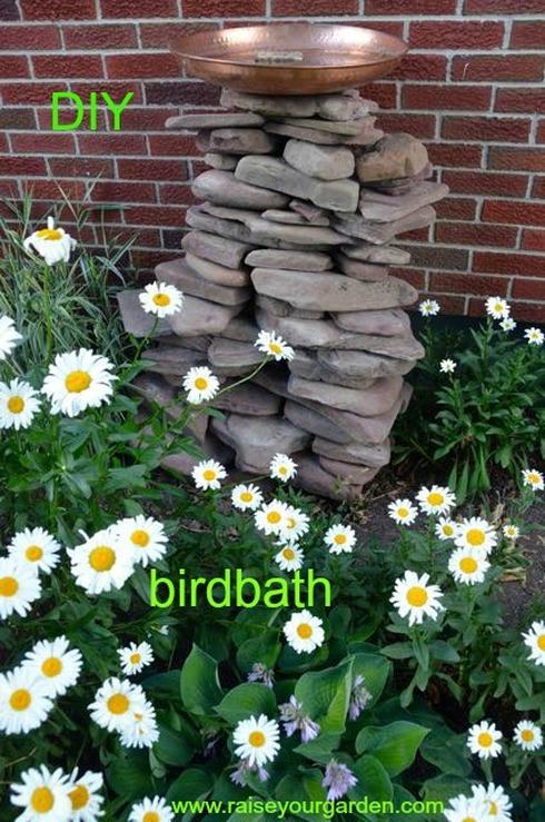 DIY birdbath made of lake rock
