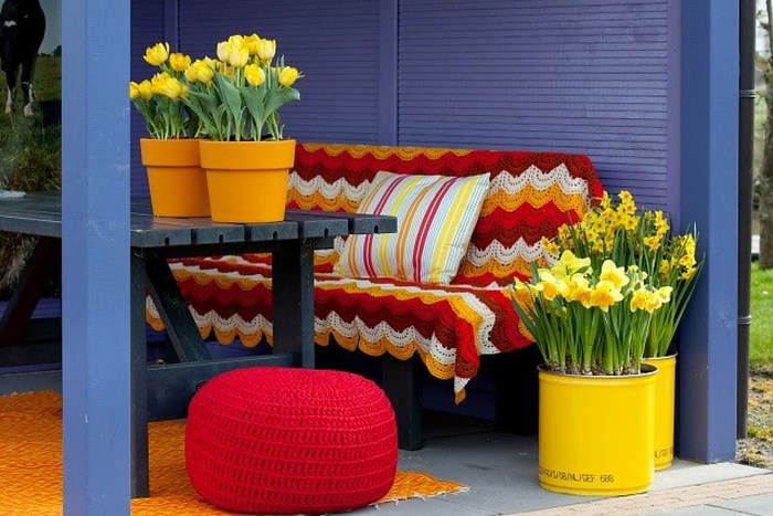 Outdoor patio space featuring contrasting color, bulbs and an area rug