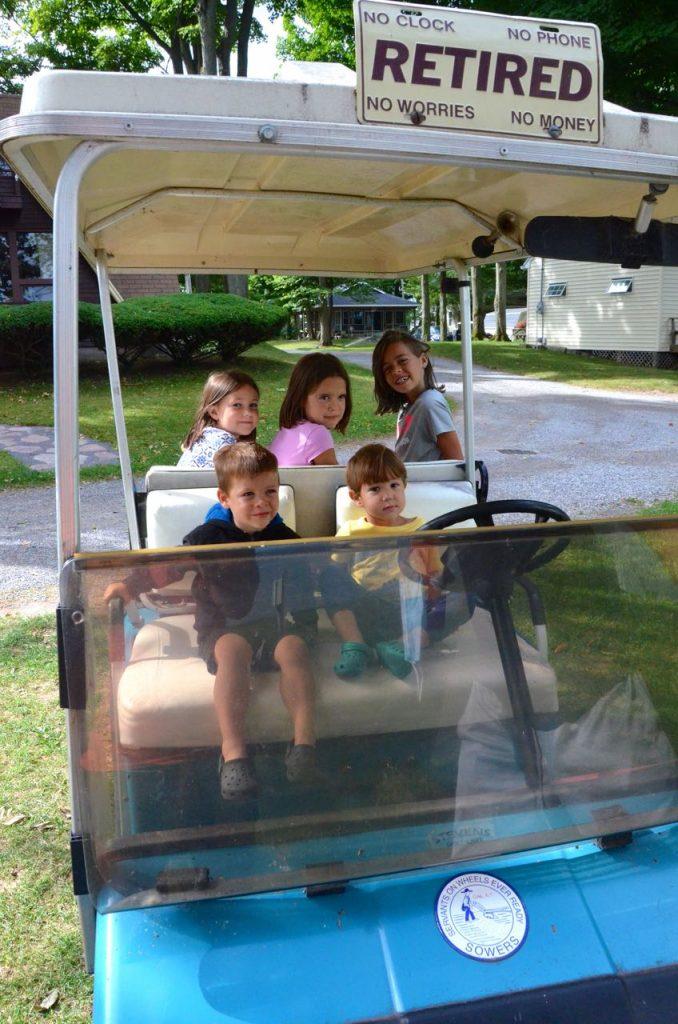 Golf cart at campground.