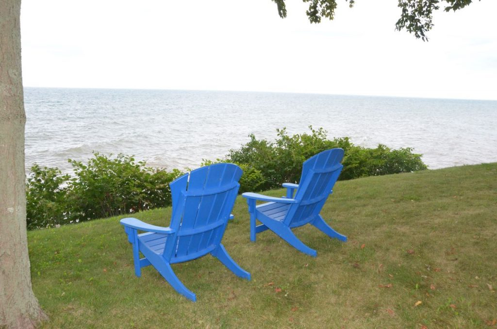 Blue durawood chairs lakeside