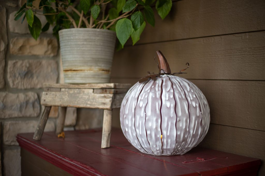 Desert Steel white mocha luminary to decorate for fall