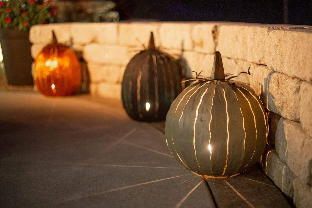 Desert steel 3 pumpkin luminaries