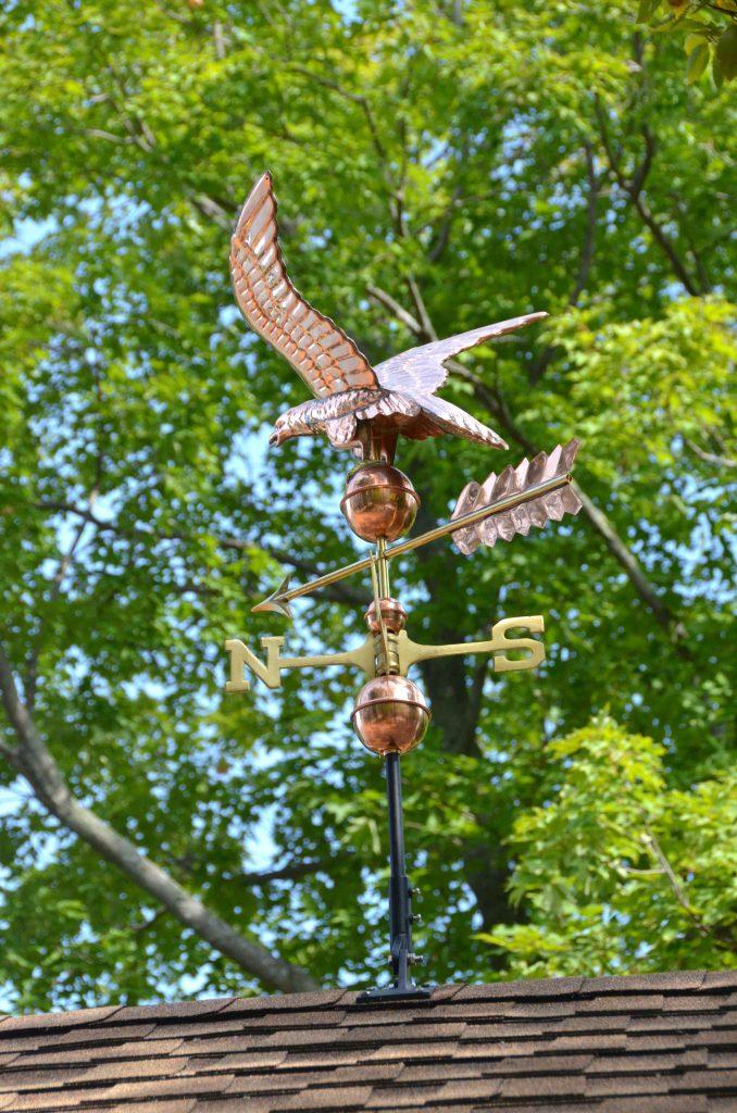 Final installation of eagle weathervane