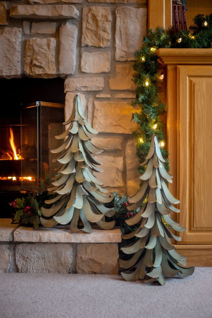 Set of two trees displayed by the fire.