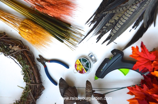 materials needed to make a fall pheasant feather wreath