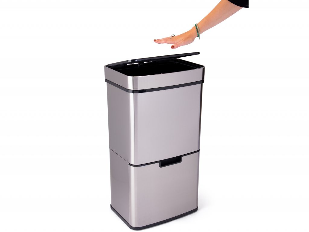 Hand hovering for 5 seconds over touchless garbage can