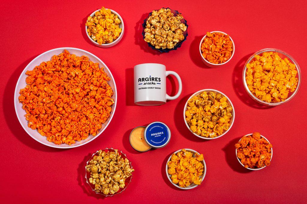 Argires snacks also makes caramel and cheddar popcorn