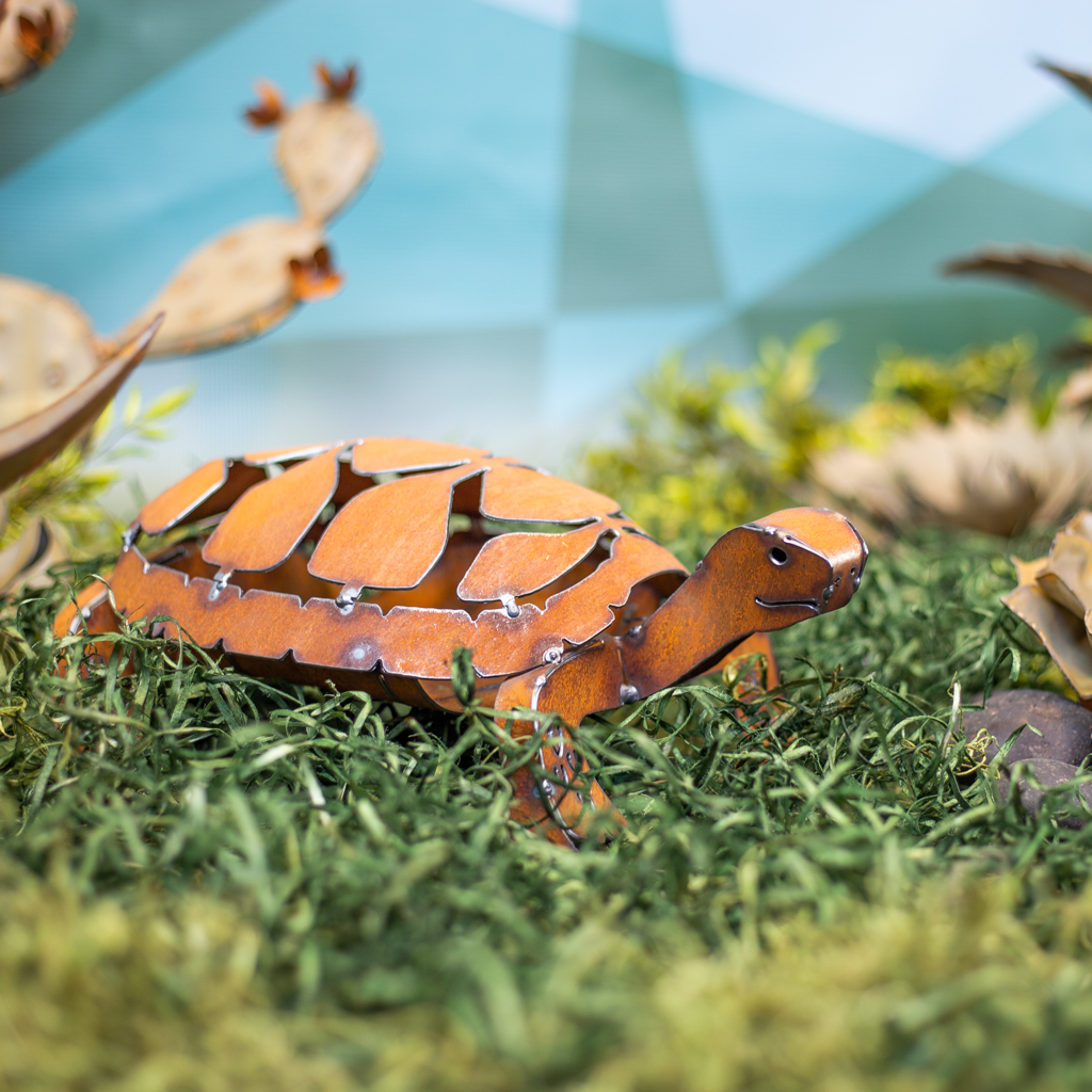 Steel tortoise garden decor