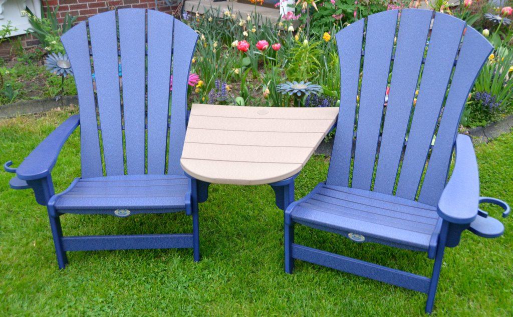 Nags Head Hammocks Navy Blue 3 piece Sunrise Adirondack chair set