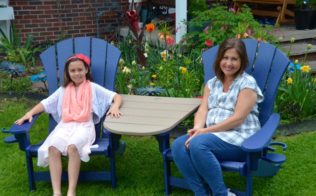 Emma and myself sitting in last forever durwood poly chairs
