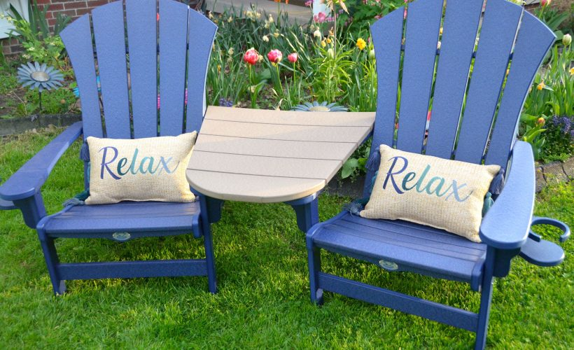 Adirondack chair set with cup holders and table
