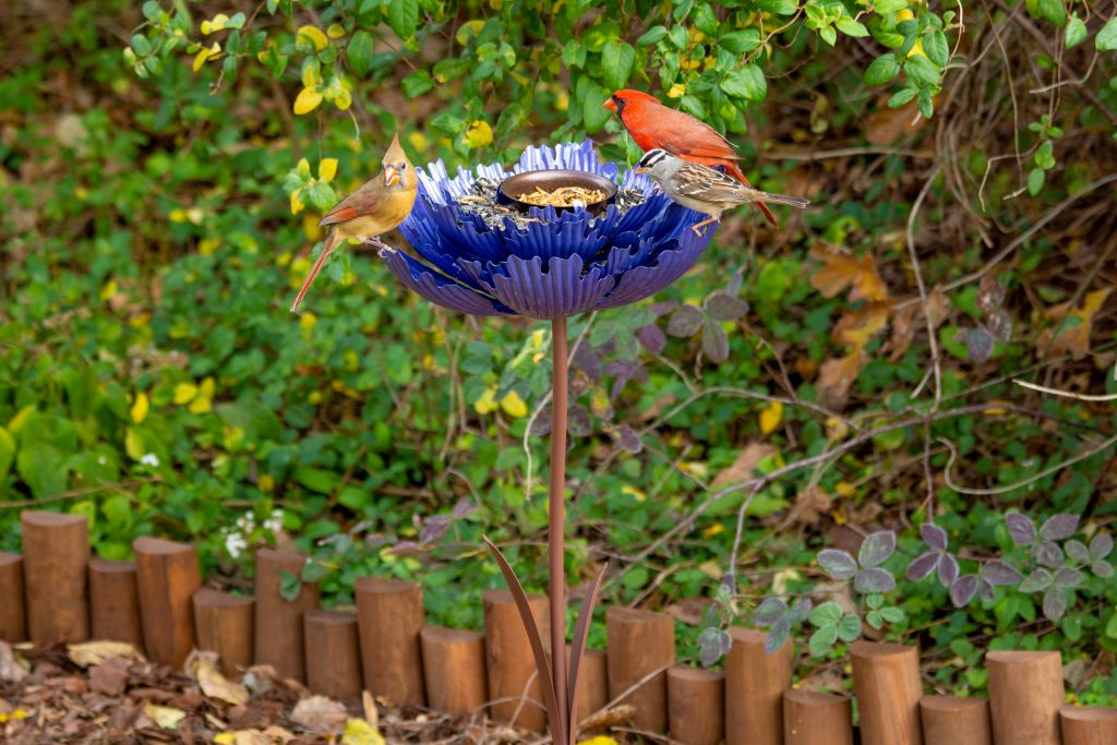 Metal peony bird feeder