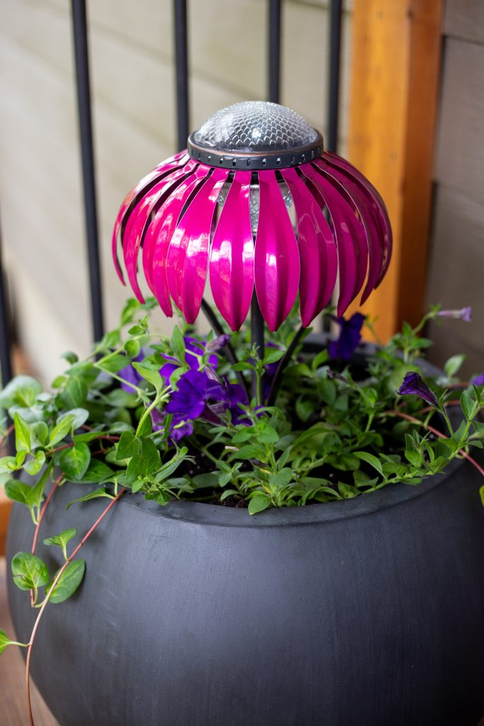 Solar lights in a pot