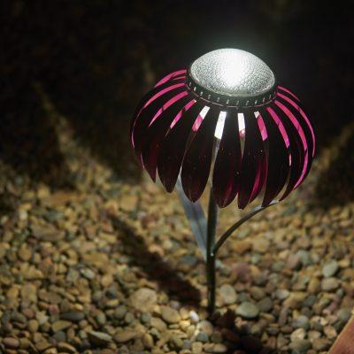 Pink Coneflower Desert Steel Solar Lights set-of-3 giveaway ARV $180!!!