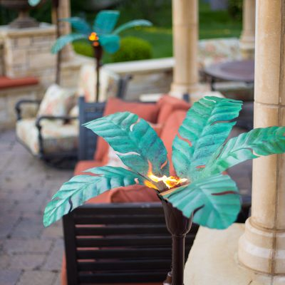 $368 Asher Palm Torches Set Tropical Paradise G.I.V.E.A.W.A.Y from Desert Steel!