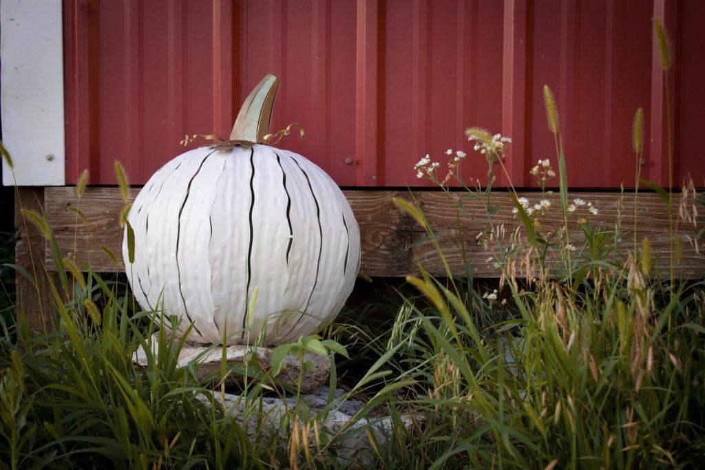 White metal pumpkin luminary